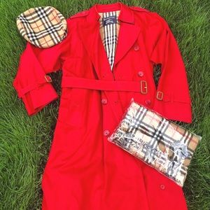 Vintage Burberry Red Long Trench